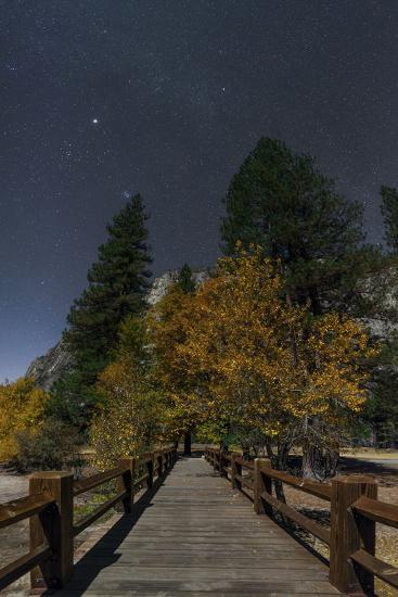 Planet Jupiter, in Constellation Taurus, Above a Footbridge over the Merced River-Babak Tafreshi-Photographic Print