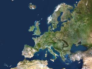 Europe, Satellite Image by PLANETOBSERVER