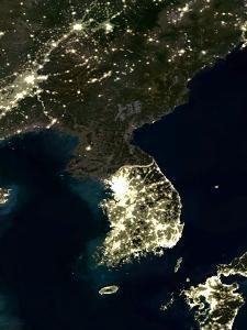 Korea At Night, Satellite Image by PLANETOBSERVER