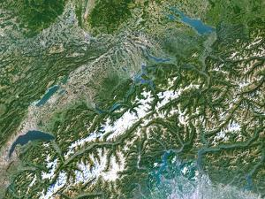 Switzerland, Satellite Image by PLANETOBSERVER