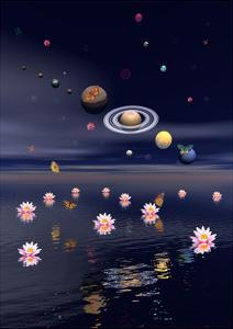 Planets of the Solar System Surrounded by Lotus Flowers and Butterflies