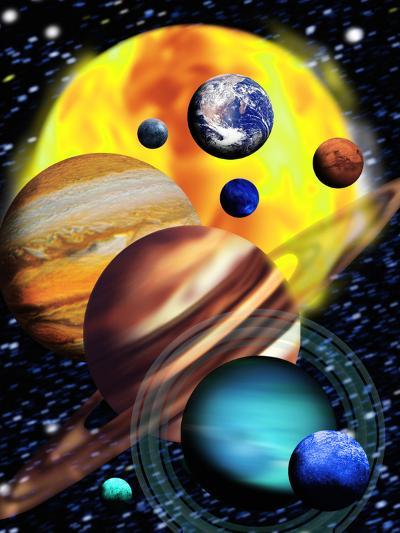 Planets & Their Relative Sizes-Victor Habbick-Photographic Print