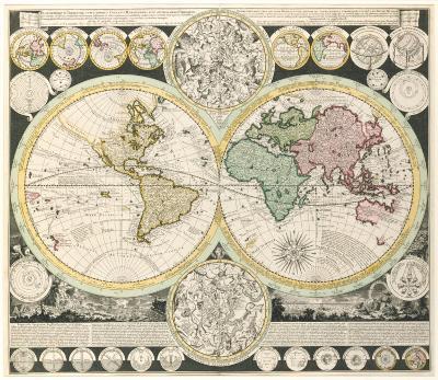 Planisphaerium Terrestre cum Utroque Coelesti Hemisphaerio, 1730-Adam Friedrich Zurneri-Premium Giclee Print