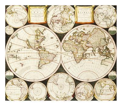Planisphaerium Terrestre Sive Terrarum Orbis, 1696- Alland-Premium Giclee Print