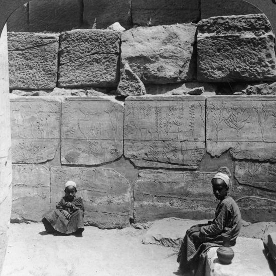 Plants and Animals Brought from Syria by the Pharaohs, Temple of Karnak, Egypt, 1905-Underwood & Underwood-Photographic Print