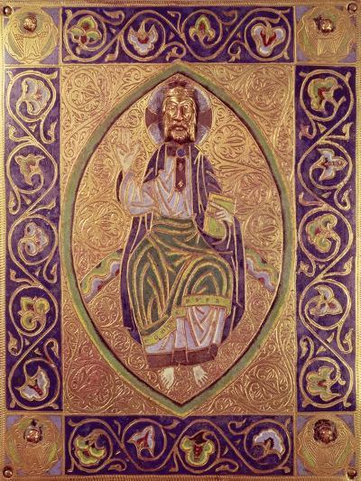 Plaque Depicting Christ Blessing (Gold & Champleve Enamel)--Giclee Print