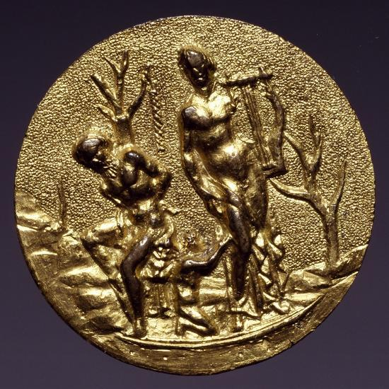 Plaque Depicting the God Apollo and Marsyas, Gilt Brass, Florentine or Roman Scope, Italy--Giclee Print