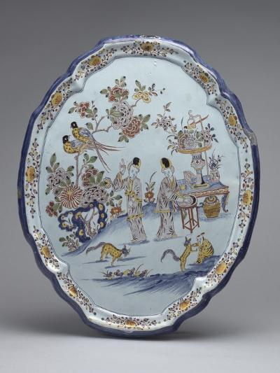 Plaque ovaà bord en relief, décor chinois, personnages près d'une tabdans un jardin, fleurs et--Giclee Print