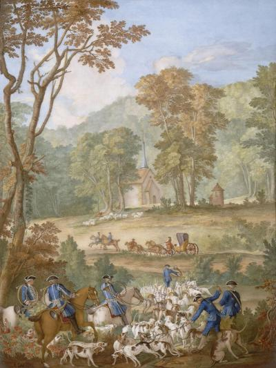 Plaque représentant les chasses de Louis XVI-Jean Baptiste Oudry-Giclee Print