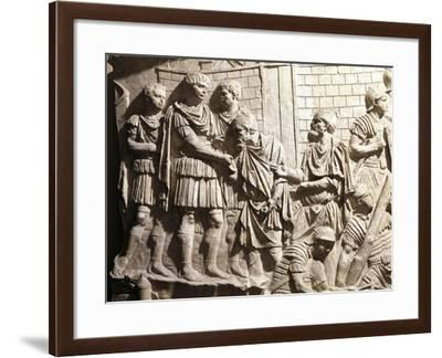 Plaster-Cast from Trajan's Column, Detail, Trajan Receiving Two Barbarian Leaders--Framed Giclee Print