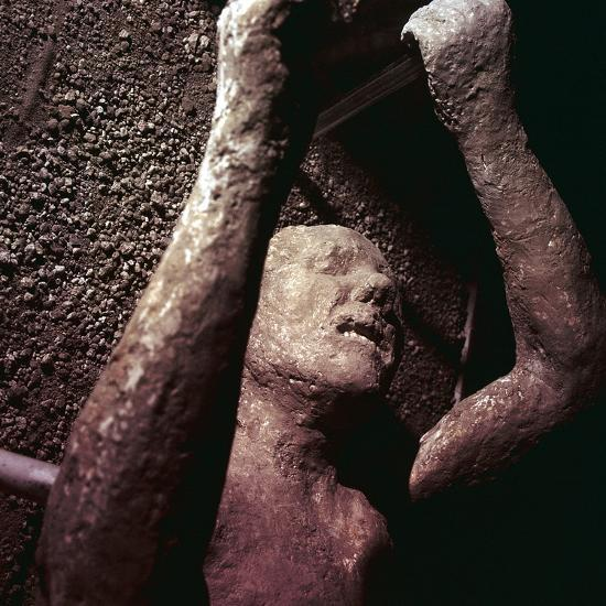 Plaster Cast of a victim of the eruption of Vesuvius at Pompeii, Italy. Artist: Unknown-Unknown-Giclee Print
