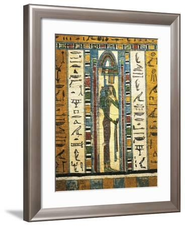 Plastered and Painted Wood Panel Depicting Goddess Isis, from Sarcophagus of Usai, Thebes--Framed Giclee Print