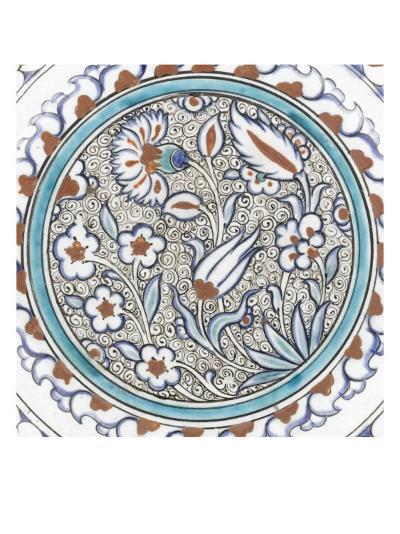 Plat à décor de fleurs et médaillon--Giclee Print
