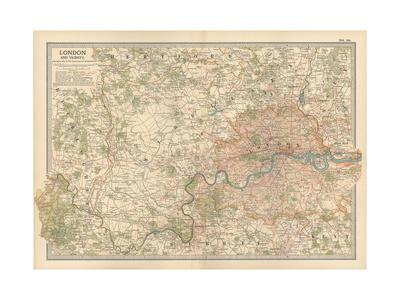 Plate 10. Map of London and Vicinity. England-Encyclopaedia Britannica-Giclee Print