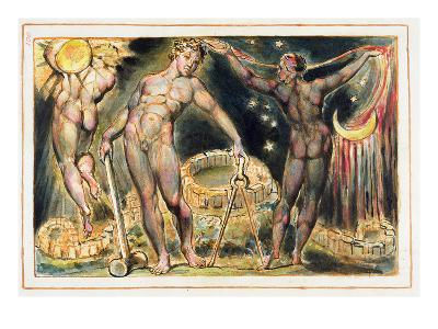 Plate 100 from 'Jerusalem' (Bentley Copy E), 1804-20 (Etching with Pen, W/C and Gold on Paper)-William Blake-Giclee Print