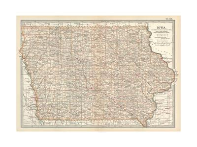 image regarding Printable Map of Iowa known as Plate 101. Map of Iowa. United Claims Giclee Print through Encyclopaedia Britannica