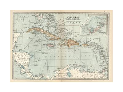 Plate 117. Map of the West Indies. Inset Map of the Berudas-Encyclopaedia Britannica-Giclee Print