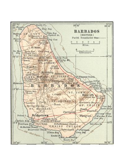 Plate 118. Inset Map of Barbados (British)-Encyclopaedia Britannica-Giclee Print