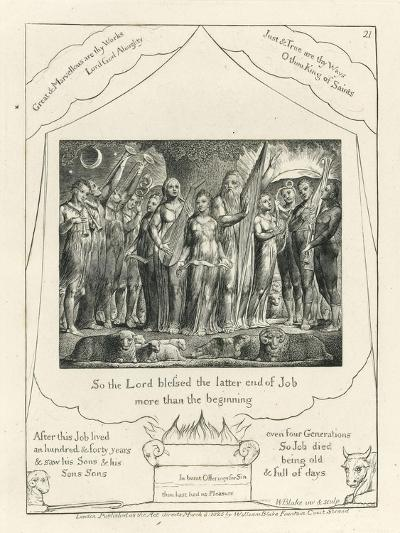 Plate 21, Job and His Wife Restored to Prosperity, Illustration from the 'Book of Job', C.1825-William Blake-Giclee Print