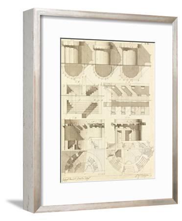Plate 50 for Elements of Civil Architecture, ca. 1818-1850-Giuseppe Vannini-Framed Art Print