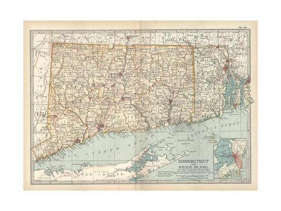 Plate 68. Map of Connecticut and Rhode Island-Encyclopaedia Britannica-Giclee Print