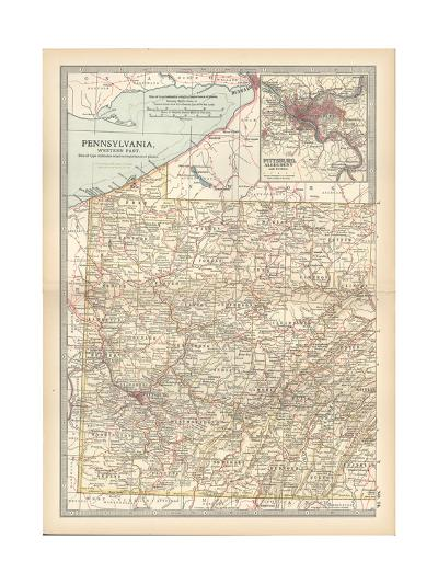 Plate 74. Map of Pennsylvania-Encyclopaedia Britannica-Giclee Print