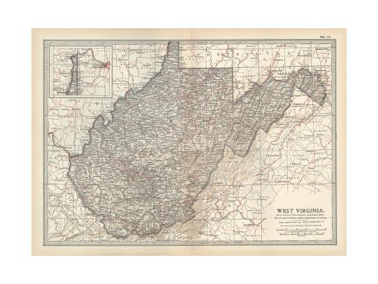 Virginia United States Map.Plate 77 Map Of West Virginia United States Giclee Print By
