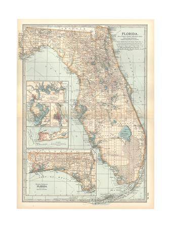 graphic relating to Printable Map of Jacksonville Fl known as Plate 81. Map of Florida. United Says. Inset Maps of Jacksonville Giclee Print by way of Encyclopaedia Britannica