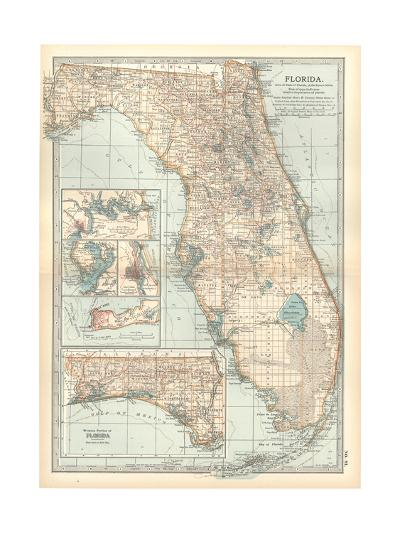 Plate 81. Map of Florida. United States. Inset Maps of Jacksonville-Encyclopaedia Britannica-Giclee Print