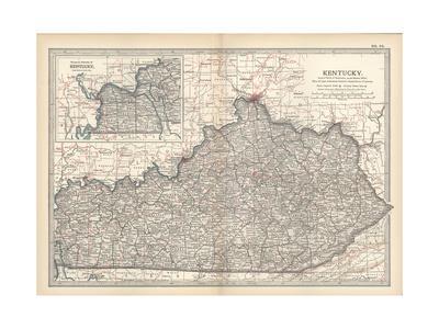 photograph regarding Printable Map of Kentucky named Plate 82. Map of Kentucky. United Claims Giclee Print via Encyclopaedia Britannica