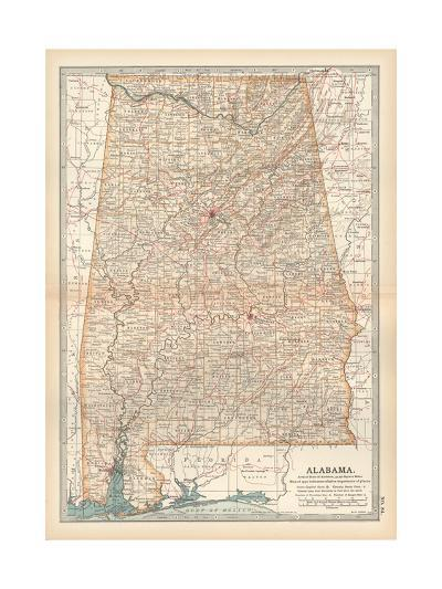 Plate 84. Map of Alabama. United States-Encyclopaedia Britannica-Giclee Print