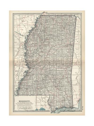 Plate 85. Map of Mississippi. United States-Encyclopaedia Britannica-Giclee Print