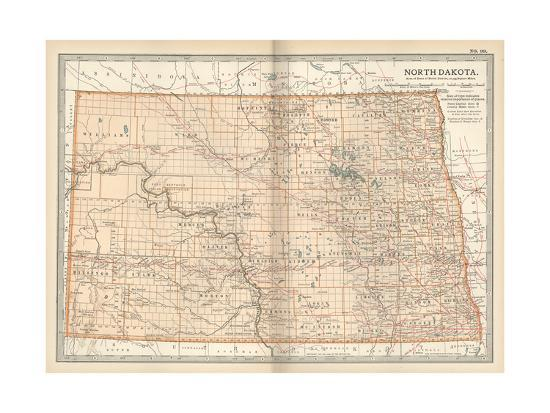 Plate 99. Map of North Dakota. United States Giclee Print by ...