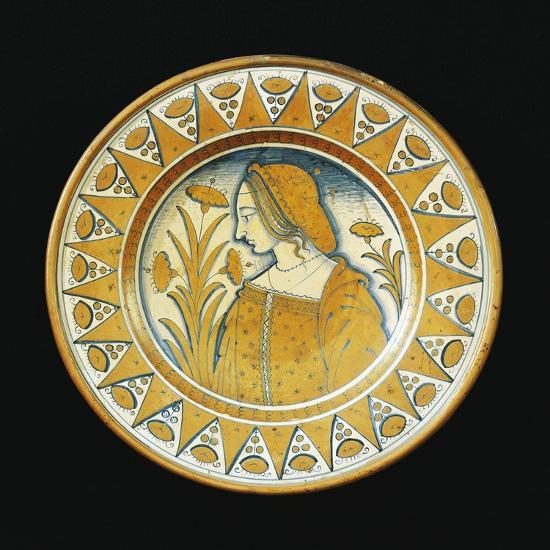Plate Decorated with Female Figure, Ceramic, Deruta Manufacture, Umbria, Italy--Giclee Print