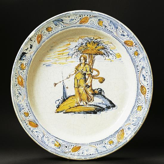 Plate Decorated with Female Figure, Ceramic, Faenza Manufacture, Emilia-Romagna, Italy--Giclee Print