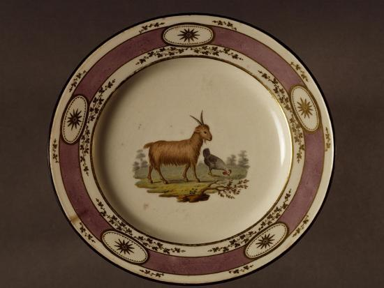 Plate Decorated with Figure of Goat and Chicken--Giclee Print