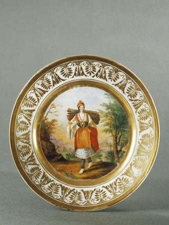 Plate Decorated with Figure of Woman from Carata, 1790--Giclee Print