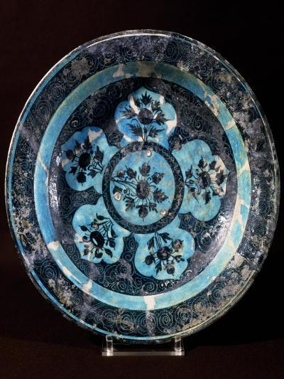 Plate Decorated with Floral Motifs, Ceramic, Mongol and Timurid Period, Persia--Giclee Print