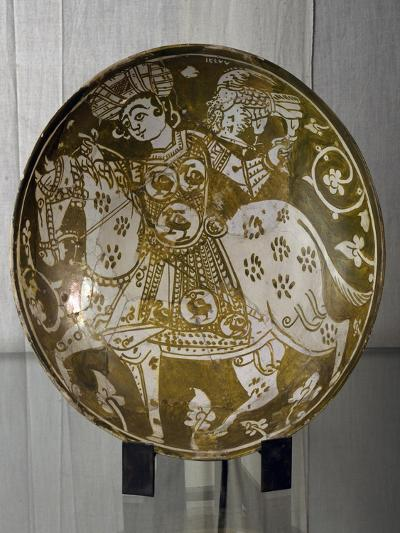 Plate Decorated with Hunter on Horseback with Hawk, Ceramics. Fatimid Period, 11th Century--Giclee Print