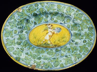 Plate Decorated with Leaves and Cupid in Medallion--Giclee Print