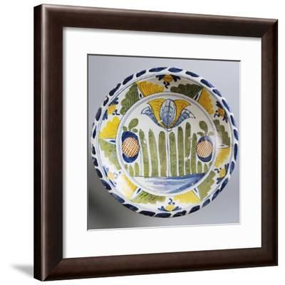 Plate Decorated with Stylized Oriental-Inspired Landscape, Ca 1730--Framed Giclee Print