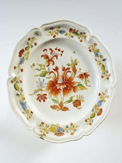 Plate Decorated with Tulips and Chinese-Style Flowers--Giclee Print