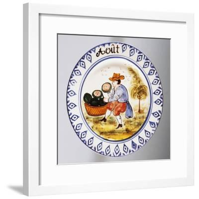 Plate Depicting Months, August, Earthenware--Framed Giclee Print