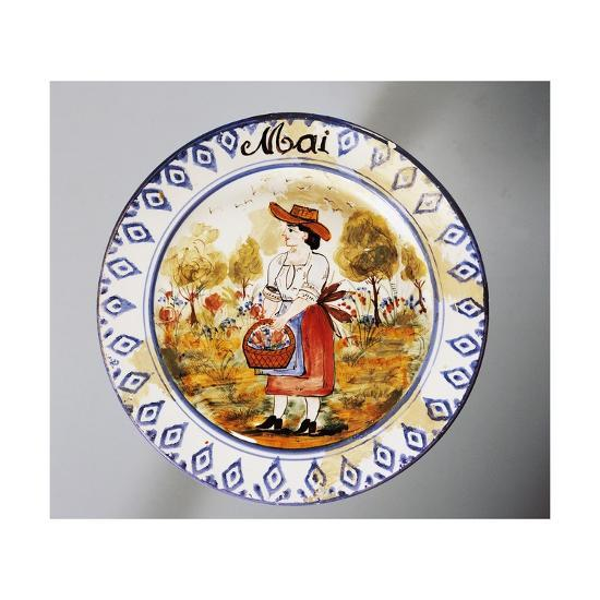 Plate Depicting Months, May, Earthenware--Giclee Print