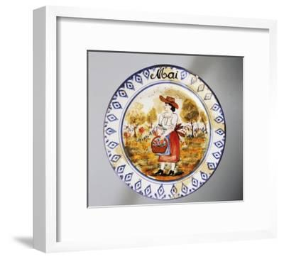 Plate Depicting Months, May, Earthenware--Framed Giclee Print
