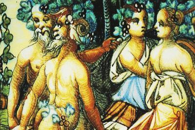 Plate Depicting Triumph of Bacchus, Ceramic, Patanazzi Workshop, Urbino, Marche, Detail--Giclee Print