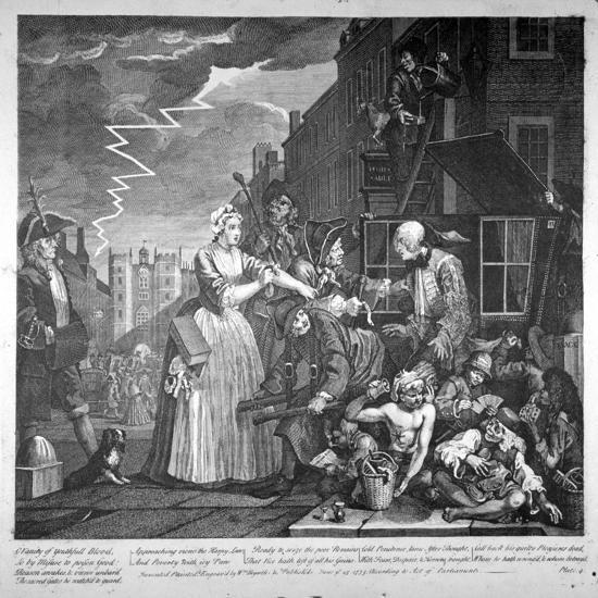 Plate IV of a Rake's Progress, 1735-William Hogarth-Giclee Print