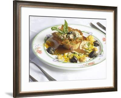 Plate of Fresh Mushroom Sauce in Phyllo Pastry--Framed Photographic Print