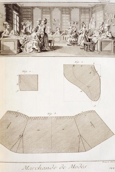 Plate Showing Dressmaking Workshop and Clothes Patterns--Giclee Print
