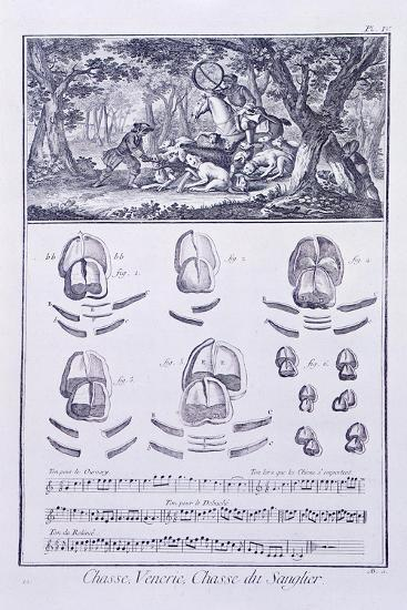 Plate Showing Wild Boar Hunting--Giclee Print